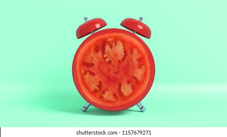 Wake up vintage morning shaped tomato. Concept illustrating that it is time to take vitamins. 3D rendering.