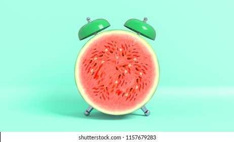 Wake up vintage morning shaped watermelon. Concept illustrating that it is time to take vitamins. 3D rendering.