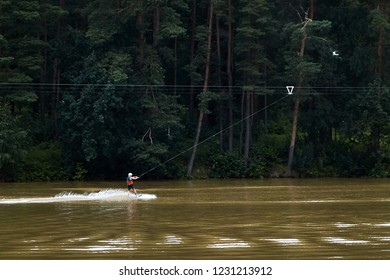 Wakeboard. Cable wakeboarding is extreme water sport. Active lifestyle