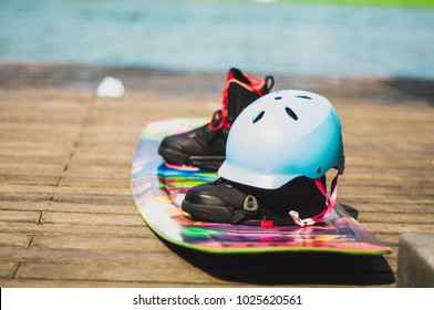 Wakeboard, extreme water sports. Put on the floor, After finishing the competition.
