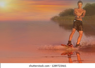 Wakeboarder. Beautiful sunset young sportsman on wakeboard. Healthy lifestyle. Water sport, wakeboarding tour in adventure camp on active family summer beach vacation. Space for text