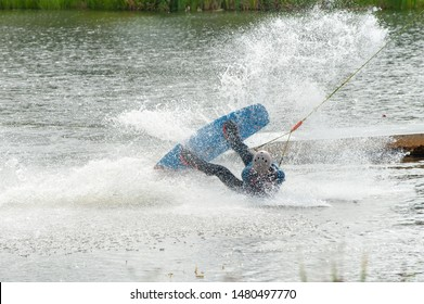 Wakeboarder crash in park after trick. Sport fail.