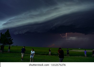 Wakeeney, Kansas / United States - May 24, 2018:  Lightning from an approaching Severe Thunderstorm or MCS in the Central Plains during a convective field study.