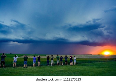 Wakeeney, Kansas / United States - May 24, 2018:  Shelf Cloud from an approaching Severe Thunderstorm or MCS in the Central Plains during a convective field study.