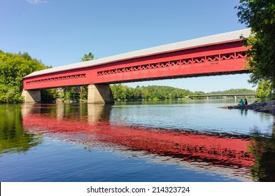 WAKEFIELD - AUGUST 24: The Wakefield covered bridge on August 24, 2014. It was built in 1915 and was one of the first bridges to link the two shores of the Gatineau River.