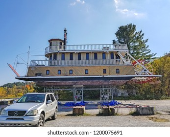WAKEFIELD, CANADA - OCTOBER 9, 2018: River boat being repaired in the village of Wakefield. Wakefield runs along the western shore of the Gatineau River