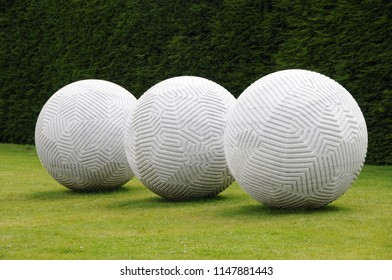 Wakefield, England - circa 2010: Yorkshire sculpture park. Sculpture by Peter Randall-Page