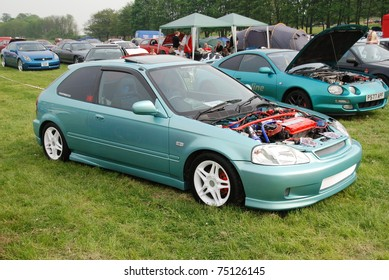 WAKEFIELD, ENGLAND - MAY 10: Blue Honda Civic on Display at the Annual Rising Sun Car Show on May 10, 2008 in Wakefield, England, UK.  Norton Priory is host to the show