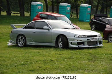 WAKEFIELD, ENGLAND - MAY 10: Silver Nissan Skyline on Display at the Annual Rising Sun Car Show on May 10, 2008 in Wakefield, England, UK.  Norton Priory is host to the show
