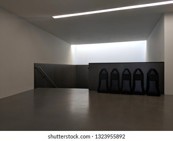 WAKEFIELD, ENGLAND - SEPTEMBER 2, 2018: Stairwell/landing and lift lobby in the  concrete Hepworth Gallery in Wakefield, Yorkshire, UK, named for the sculptor Barbara Hepworth who was born in the town