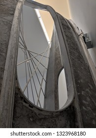 WAKEFIELD, ENGLAND - SEPTEMBER 2, 2018: Model of the famous John Lewis sculpture by Barbara Hepworth at the  Hepworth Gallery in Wakefield, Yorkshire, UK