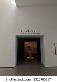 WAKEFIELD, ENGLAND - SEPTEMBER 2, 2018: Lee Miller & Surrealism exhibition space in the Brutalist concrete Hepworth Gallery in Wakefield, Yorkshire, UK