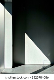 WAKEFIELD, ENGLAND - SEPTEMBER 2, 2018: Gallery space in the Brutalist concrete Hepworth Gallery in Wakefield, Yorkshire, UK, named for the sculptor Barbara Hepworth who was born in the town