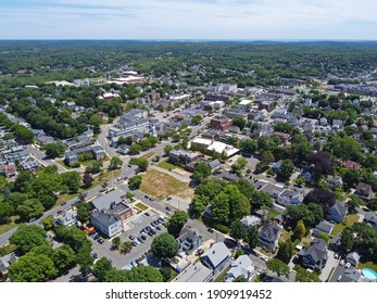 Wakefield historic town center aerial view on Main Street in Wakefield, Massachusetts MA, USA.