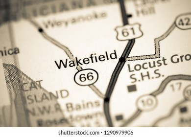 Wakefield. Louisiana. USA on a map