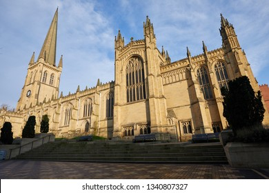 Wakefield, UK. - February 17, 2019: Image of the Cathedral in the centre of Wakefield city, with the tallest spire in Yorkshire.