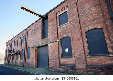 Wakefield, UK. - February 17, 2019: An abandoned former factory in Wakefield, Yorkshire.