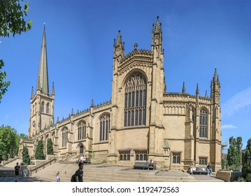WAKEFIELD, UK - JULY 1, 2018: Wakefield Cathedral is of Anglo Saxon origins and after enlargement and rebuilding has the tallest spire in Yorkshire at 247 feet.