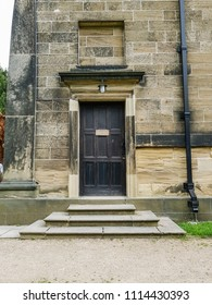 WAKEFIELD, UK - JUNE 10, 2018.  A door to the St Bartholomew's Chapel 1744 in the grounds of the Yorkshire Sculpture Park, near Wakefield, West Yorkshire, UK.