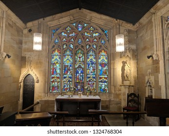WAKEFIELD, UK - SEPTEMBER 2, 2018: Flamboyant tracery and ornate stained glass window of 13th century, Grade I listed Chantry Chapel of St Mary the Virgin, part of Wakefield Bridge, Yorkshire, UK