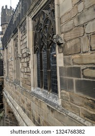 WAKEFIELD, UK - SEPTEMBER 2, 2018: Flamboyant tracery of 13th century, Grade I listed Chantry Chapel of St Mary the Virgin, rising from the river as part of Wakefield Bridge, Yorkshire, UK