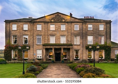 Wakefield, United Kingdom - October 20, 2016: Walton Hall, a 4 star hotel in a scenic setting of rolling parkland with its own lake, a backdrop of ancient woodland and a championship golf course.