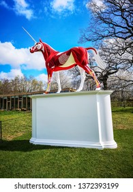 WAKEFIELD, YORKSHIRE, UK - APRIL 13, 2019: Myth, a sculpture by Damien Hirst in Yorkshire Sculpture Park.