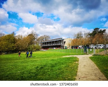 WAKEFIELD, YORKSHIRE, UK - APRIL 13, 2019: The Entrance and visitor centre at the Yorkshire Sculpture Park, an important venue for permanent and temporary outdoor works of art, located near Wakefield,