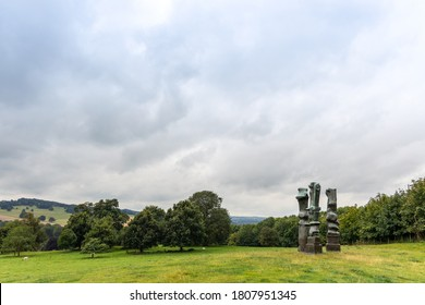 WAKEFIELD, YORKSHIRE, UK - August 19, 2020: Upright Motives No. 1 (Glenkiln Cross): No 2; No 7 bronze sculpture by Henry Moore in Yorkshire Sculpture Park.