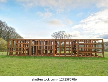 WAKEFIELD, YORKSHIRE, UK - DECEMBER 29, 2018: The Crate of Art sculpture by contemporary artist Sean Scully at the Yorkshire Sculpture Park