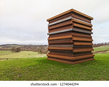 WAKEFIELD, YORKSHIRE, UK - DECEMBER 29, 2018: The Moor Shadow Stack sculpture by contemporary artist Sean Scully at the Yorkshire Sculpture Park