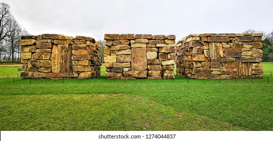 WAKEFIELD, YORKSHIRE, UK - DECEMBER 29, 2018: The Wall Dale Cubed sculpture by contemporary artist Sean Scully at the Yorkshire Sculpture Park
