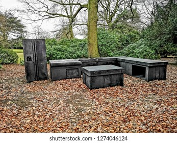 WAKEFIELD, YORKSHIRE, UK - DECEMBER 29, 2018: The Standard Kitchen sculpture by contemporary artist Joao Vasco Paiva at the Yorkshire Sculpture Park