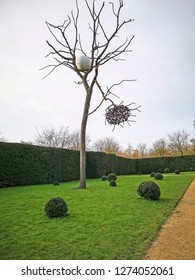 WAKEFIELD, YORKSHIRE, UK - DECEMBER 29, 2018: The tree sculpture by contemporary artist Sean Scully at the Yorkshire Sculpture Park