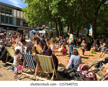 Wakefield, Yorkshire, United Kingdom August 11th 2018 Summer family fun day in Wakefield town centre. Editorial
