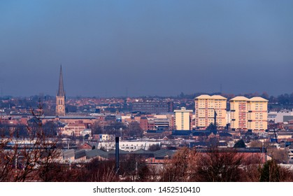WAKEFIELD, YORKSHIRE, UNITED KINGDOM - FEBRUARY 26, 2019: View of Wakefield City Centre from Sandal Castle