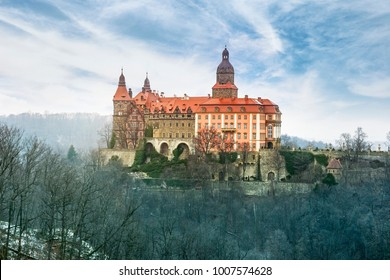 WALBRZYCH, POLAND - 21 Jan 2018: Ksiaz castle, the largest castle in the Silesia region