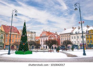 WALBRZYCH, POLAND - 21 Jan 2018: Market square of Walbrzych during Christmas season