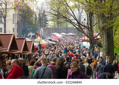 Walbrzych, Poland - May 05, 2016: XXVIII Flower and Art Festival in Ksiaz Castle.  Each year there are thousands of visitors, plant enthusiasts and lovers of gardens gather from all over Poland