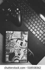 WALCZ, POLAND - SEPTEMBER 2016: PC game FIFA 16 lying on a laptop