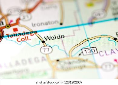Waldo. Alabama. USA on a map