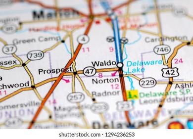 Waldo. Ohio. USA on a map
