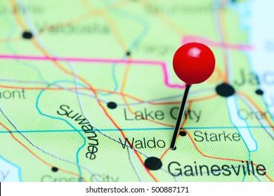 Waldo pinned on a map of Florida, USA