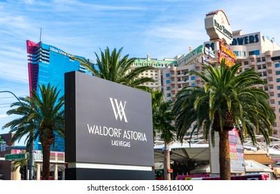 Waldorf Astoria luxury hotel on the Las Vegas Strip. Background Elara and Polo Towers hotels - Las Vegas, Nevada, USA - December, 2019