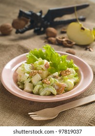 Waldorf salad with cheese, selective focus