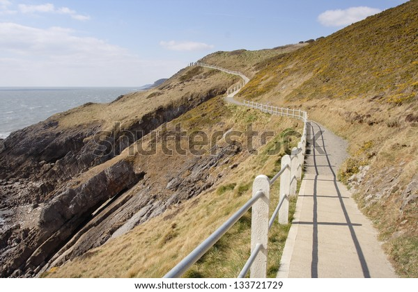 The Wales coast path passes through spectacular Gower scenery between Caswell and Langland Bay