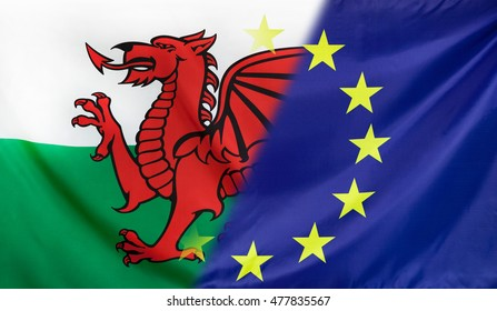 Wales and European Union relations concept with diagonally merged real fabric flags