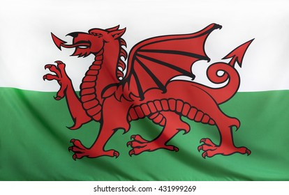 Wales Flag real fabric seamless close up