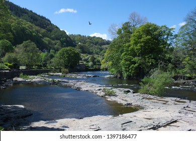 Wales, the historic and beautiful town of Llangollen. The river Dee flows towards the town on a lovely spring day.