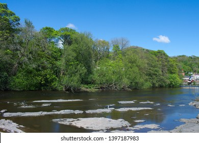 Wales, the river Dee as it flows towards the pretty and historic town of Llangollen.